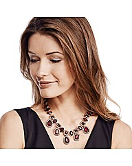 Mood Luxe Red Jewelled Drop Necklace