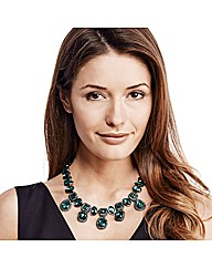 Mood Luxe Green Jewelled Drop Necklace