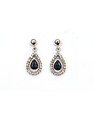9ct Sapphire and Diamond Drop Earrings