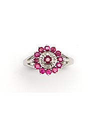 Silver Diamond and Ruby Cluster Ring