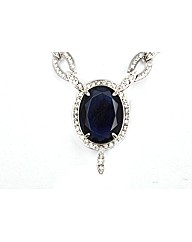 Blue and White Cubic Zirconia Necklace