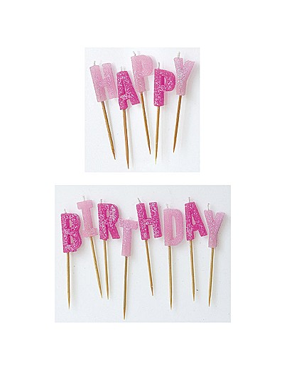 Image of Glitz Happy Birthday Pick Candles