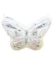 Sparkle Club white Butterfly Satin Bag