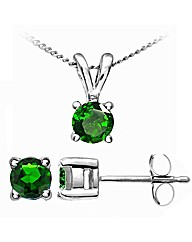 White Gld 0.32Ct Chrome Diopside Earring