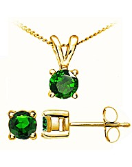 Yellow Gold 0.32 Chrome Diopside Earring