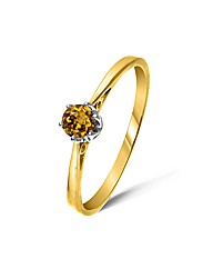 Yellow Gold 0.25 Carat Honey Zircon Ring