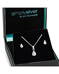 Simply Silver Cubic Zirconia Droplet Set