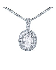 Rhodium Plated Crystal Set Oval Pendant