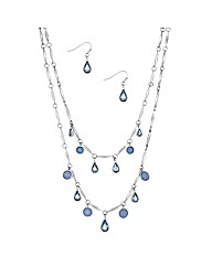 Mood Blue Stone Droplet Jewellery Set