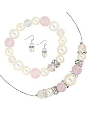 Mood Pink Bead And Pearl Jewellery Set