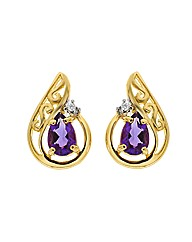 9ct Amethyst and Diamond Earring