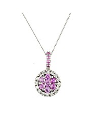 9ct Pink Sapphire and Diamond Pendant