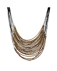 Mood Brown Seed Bead Multirow Necklace