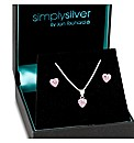Simply Silver Purple Heart Jewellery Set