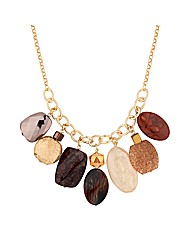 Mood Chunky Brown Bead Drop Necklace