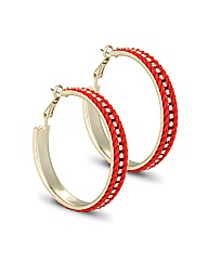 Mood Coral Crystal Twist Hoop Earring