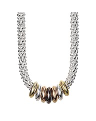 Simply Silver Tri Colour Mesh Necklace