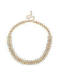 Mood Crystal Surround Gold Link Necklace