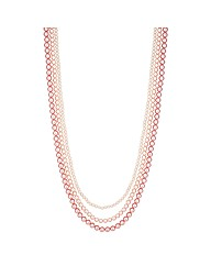 Mood Pink Pearl Multirow Necklace