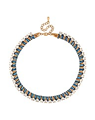 Mood Diamante Blue Mesh Wrap Necklace