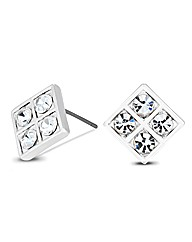 Jon Richard Crystal Square Stud Earring