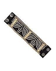 Mood Gold Beaded Jet Fabric Cuff