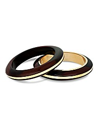 Mood Set Of Two Wood Effect Bangles