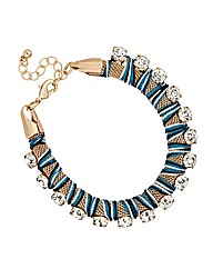 Mood Diamante Blue Mesh Wrap Bracelet
