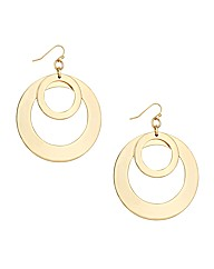 Mood Statement Double Gold Disc Earring