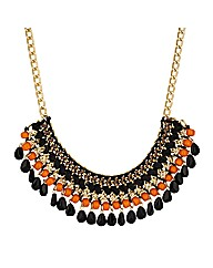 Mood Jet And Orange Bead Wrap Necklace