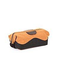 Woodland Leather Canvass Waxy Wash Bag