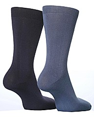 2 Pr Sockshop Plain Bamboo Socks