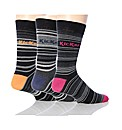 3 Pk Kickers Bordeaux Stripe Socks
