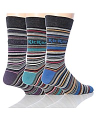 3 Pk Kickers Vendome Stripe Socks