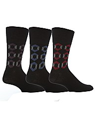 6 Pr Gentle Grip Socks - Geo Cube
