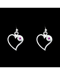 Silver and Pink Sapphire Heart Earrings