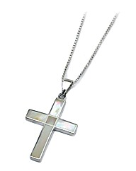Silver and Mother of Pearl Cross Pendant