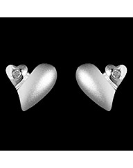 Silver and Diamond Matt Heart Earrings