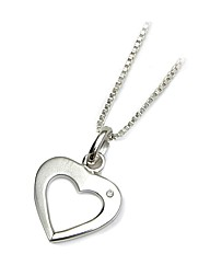 Silver and Diamond Open Heart Pendant