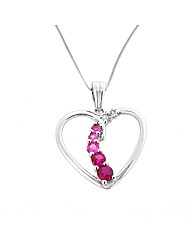 9ct WG Multi Stone Heart Pendant