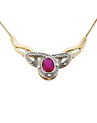 9ct YG Diamond and Ruby Necklace