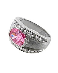 Silver and Cubic Zirconia Set Ring