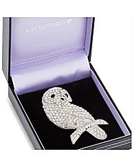 Jon Richard Crystal Owl Brooch