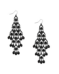 Mood Jet Beaded Chandelier Earring