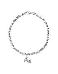 Simply Silver Bead Bracelet With Charm