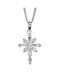 Simply Silver Starburst Cross Pendant
