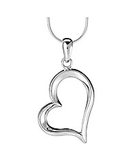 Simply Silver Curved Heart Pendant
