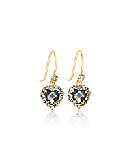 9ct Gold Purple and White CZ Heart Drops
