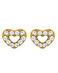 Gold Plated Crystal Heart Earrings