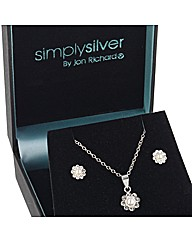 Simply Silver Pearl Crystal Flower Set